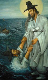 Иисус спасает Петра
